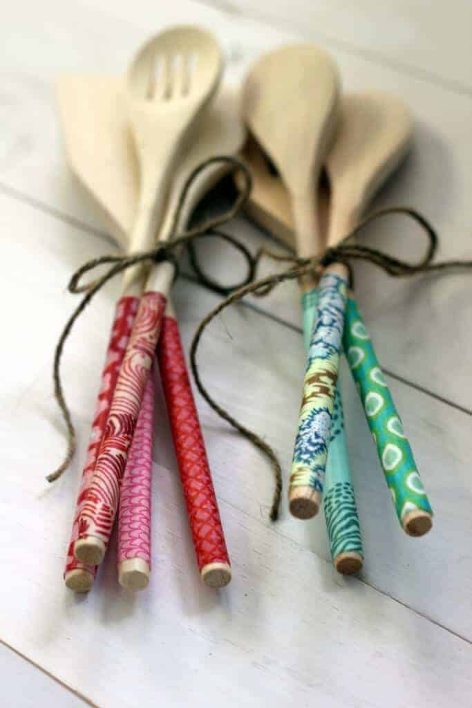 Fabric Covered Wooden Spoons by Alice and Lois