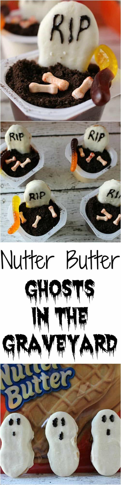 Nutter butter pudding cups Ghosts in the Graveyard - a delicious Halloween treat for your classroom parties!