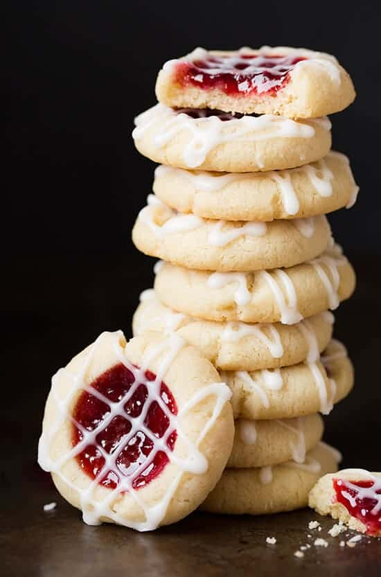 Raspberry Almond Thumbprint Cookies by Cooking Classy