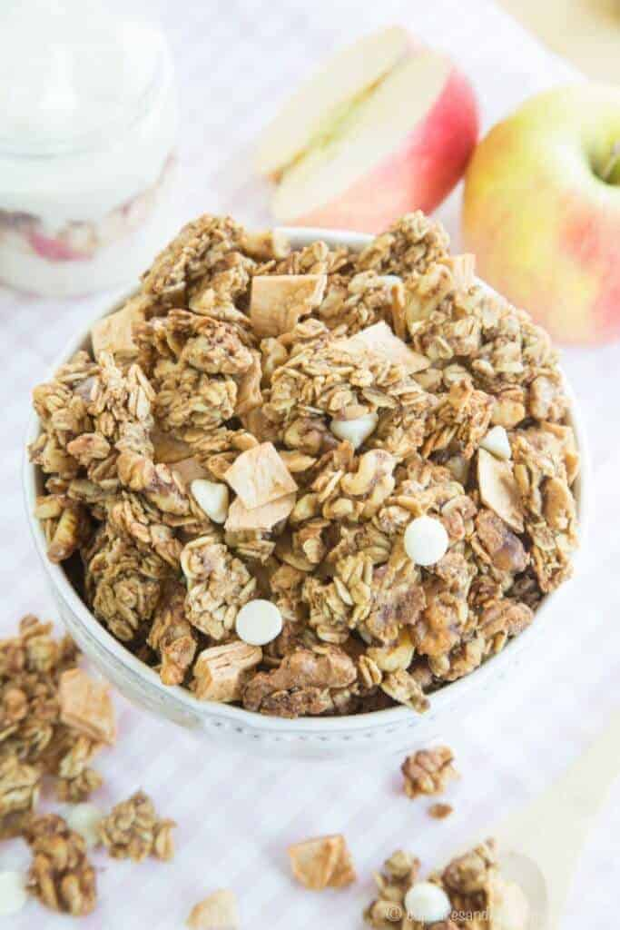 This Apple Crisp Granola recipe brings all the elements of that favorite fall dessert into a nutritious breakfast topper or snack