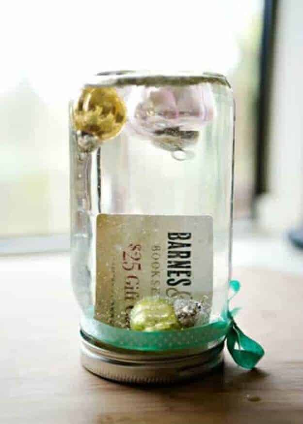 Gift Card Snow Globe Mason Jar by The Creative Mama