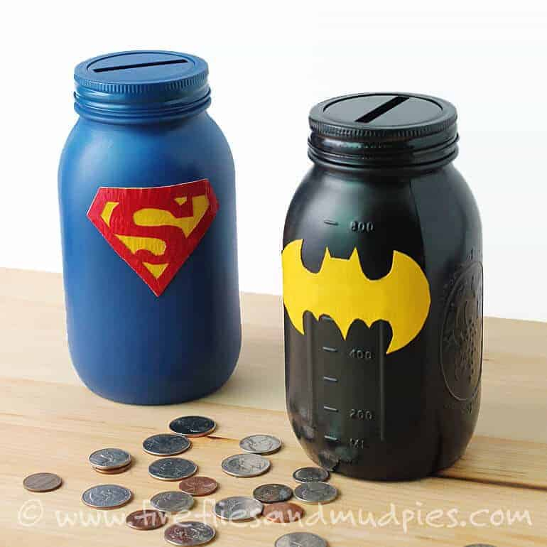 Mason Jar Superhero Banks by Fireflies and Mudpies