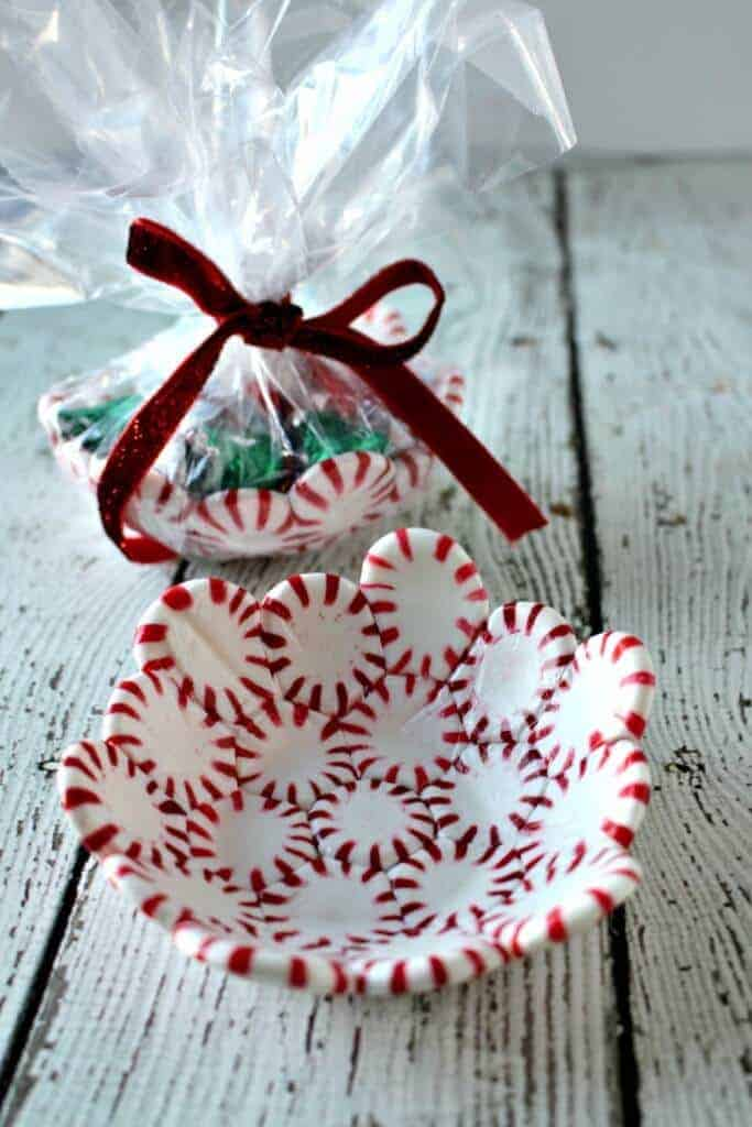 Peppermint Candy Bowl wrapped up as a gift with chocolate candy in it 6c14746da