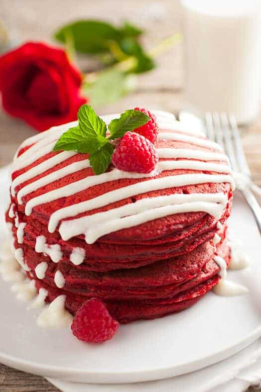 Red Velvet Pancakes with Cream Cheese Glaze by Cooking Classy