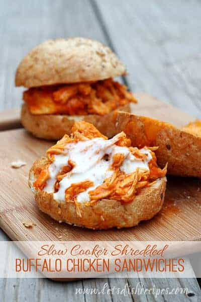 Shredded Buffalo Chicken Sandwiches by Let's Dish Recipes