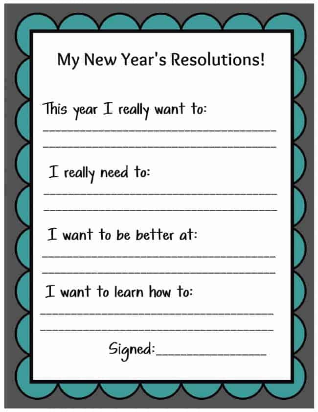 New Years Eve Resolution Printable by Uncommon Designs