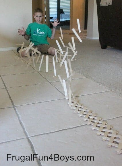 Popsicle Stick Chain Reaction by Frugal Fun for Boys