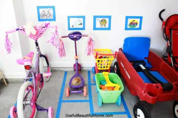 Use painters tape to make a toy garage parking lot from I'm an Organizing Junkie