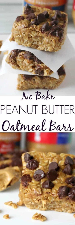 No Bake Peanut Butter Oatmeal Bars Pinterest Image
