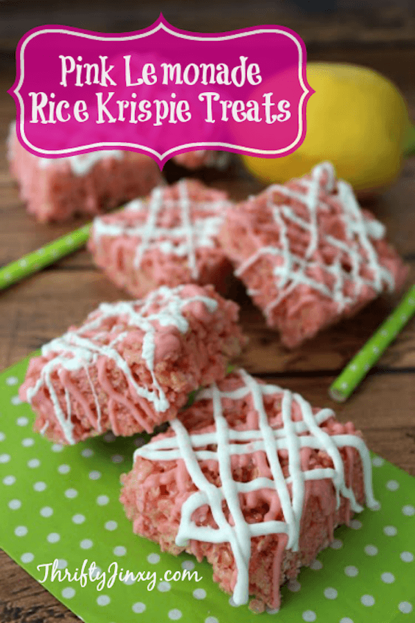 Pink Lemonade Rice Krispie Treats from Thrifty Jinxy