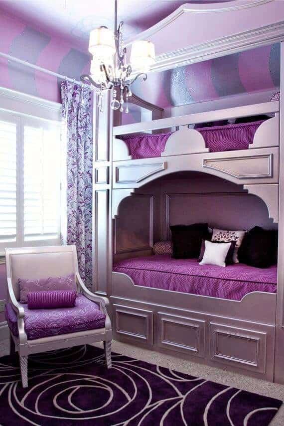 Purple Teenage Girls Bedroom via Decorative Bedroom