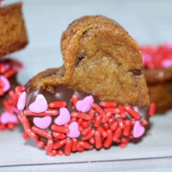 Valentine's Chocolate Chip Cookie Hearts