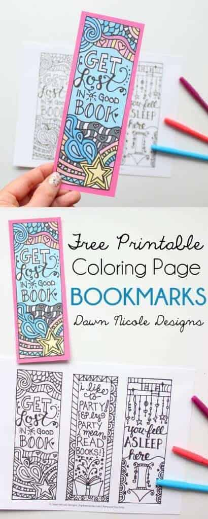 Free Coloring Page Bookmarks for Adults by Dawn Nicole