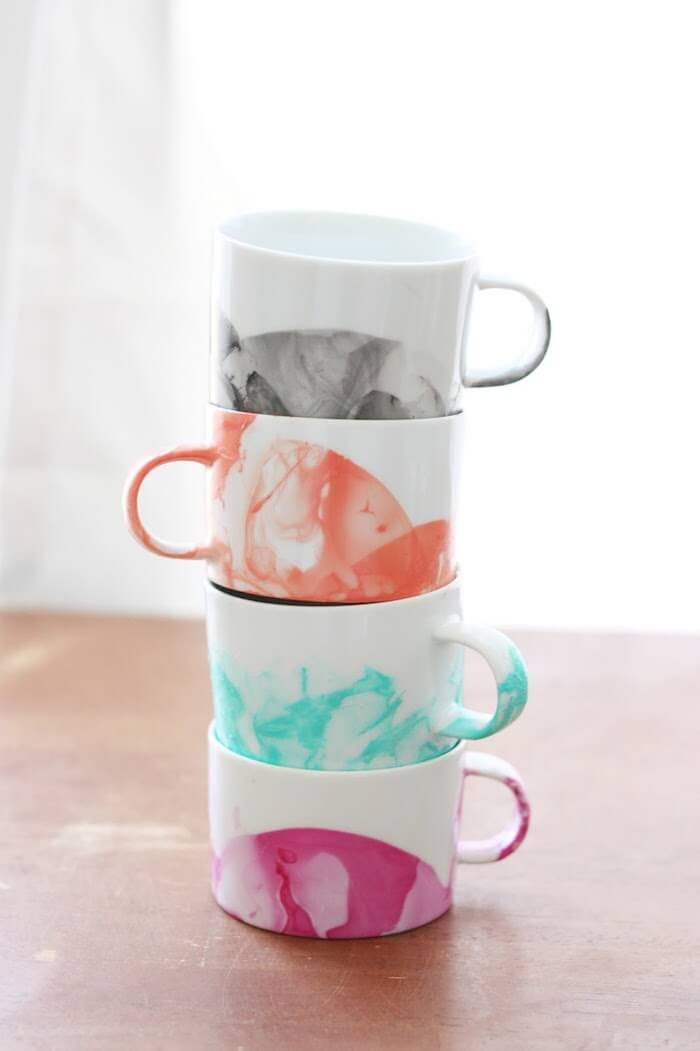 Marbled Mugs with Nail Polish by DIY Candy