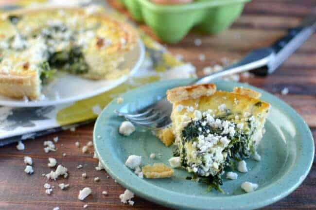 Piece of spinach and feta quiche