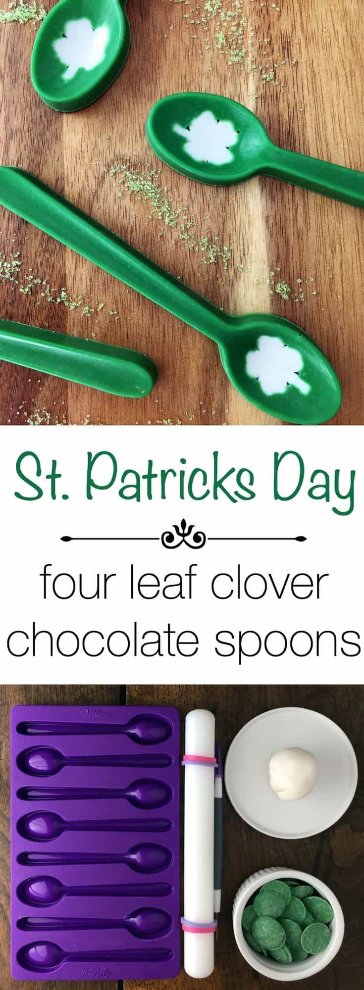St. Patrick's Day Four Leaf Clover Chocolate Spoons