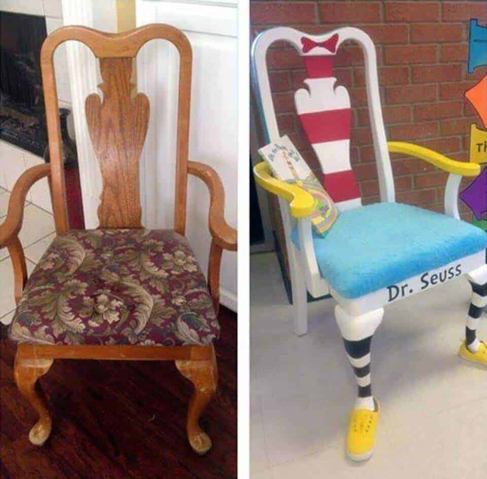 Dr. Seuss Chair Makeover - turn trash to treasure!!!