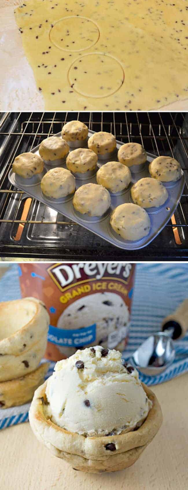 Chocolate Chip Ice Cream Cookie Bowls from Today's Mama