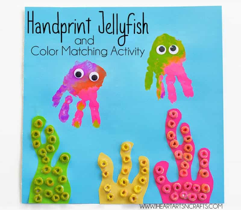 Handprint Jelly Fish Color Matching Activity by I Heart Arts N Crafts