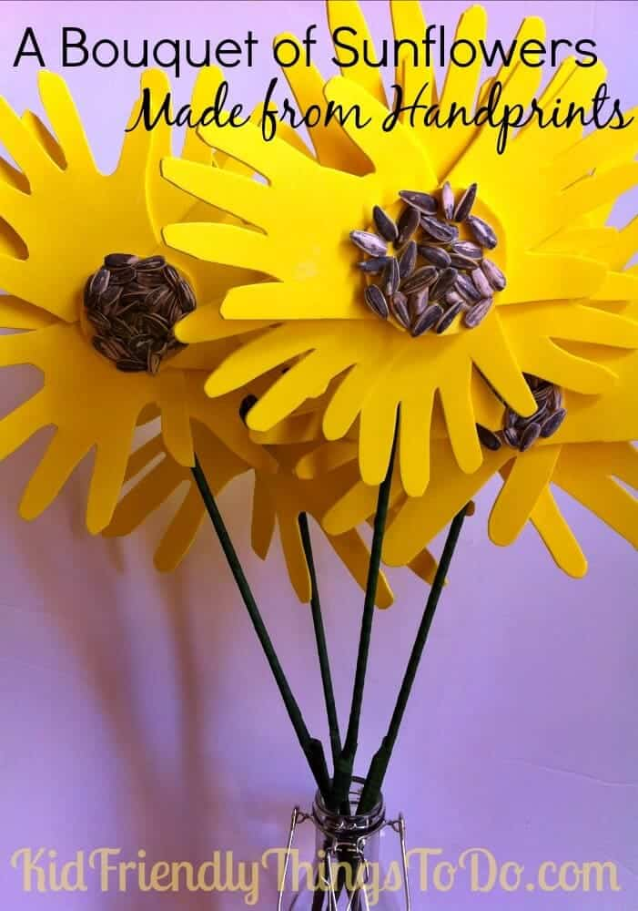 Handprint Sunflower Bouquet by Kid Friendly Things to Do