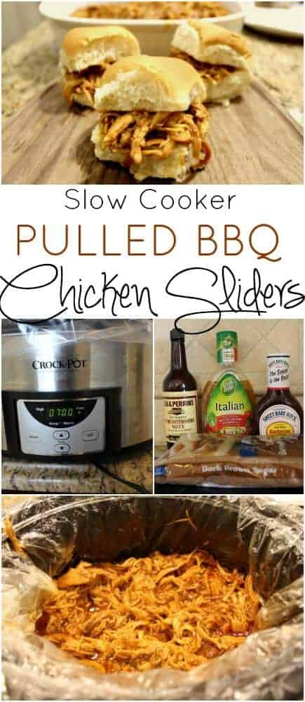 Best Slow Cooker Pulled BBQ Chicken sliders via @jfishkind