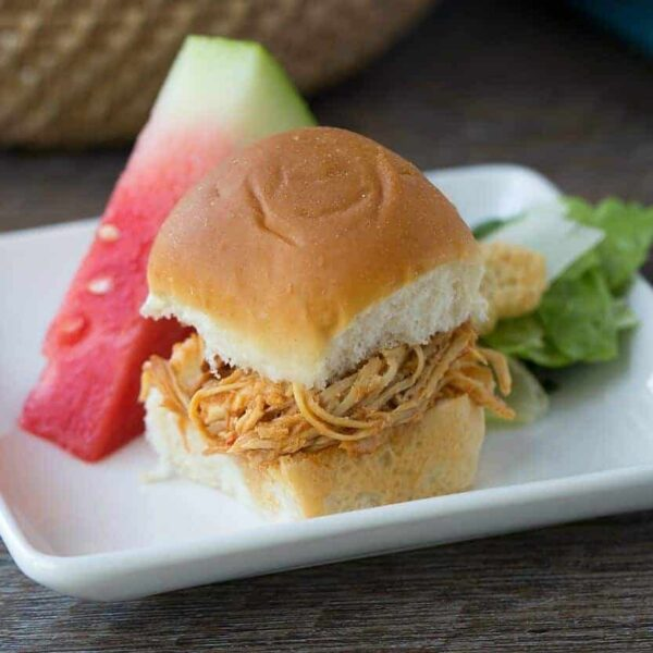 Slow cooker BBQ Pulled Chicken sliders recipe featured image
