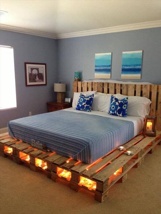 Wood Pallet Bed with Lights from DIY and Crafts Ideas