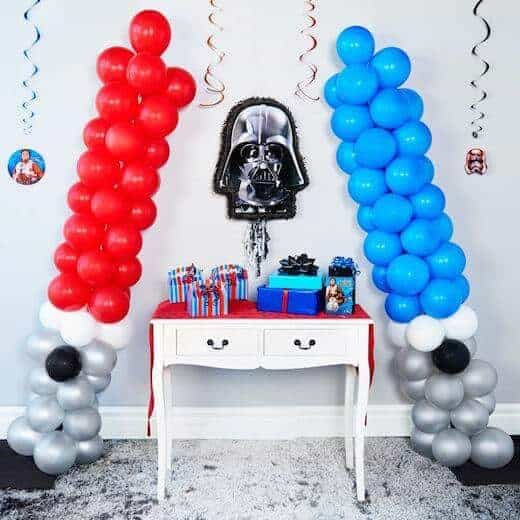 DIY Giant Balloon Light Sabers for a Star Wars Birthday Party from Birthday Express