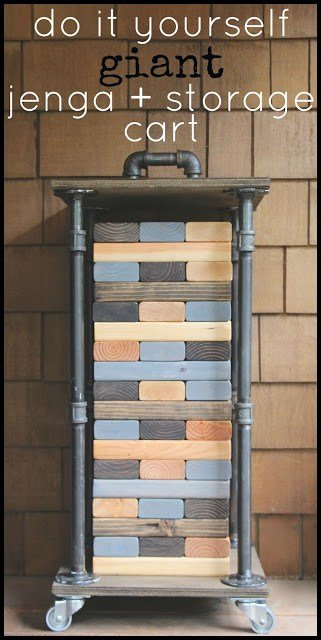 DIY Giant Jenga with Industrial Storage Cart by My Sweet Savannah
