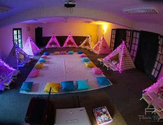 Girls indoor camping party from Catch My Party