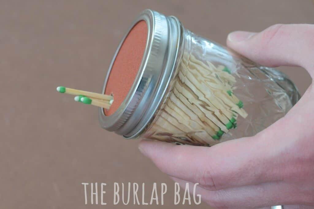Mason Jar Matches Storage by The Burlap Bag