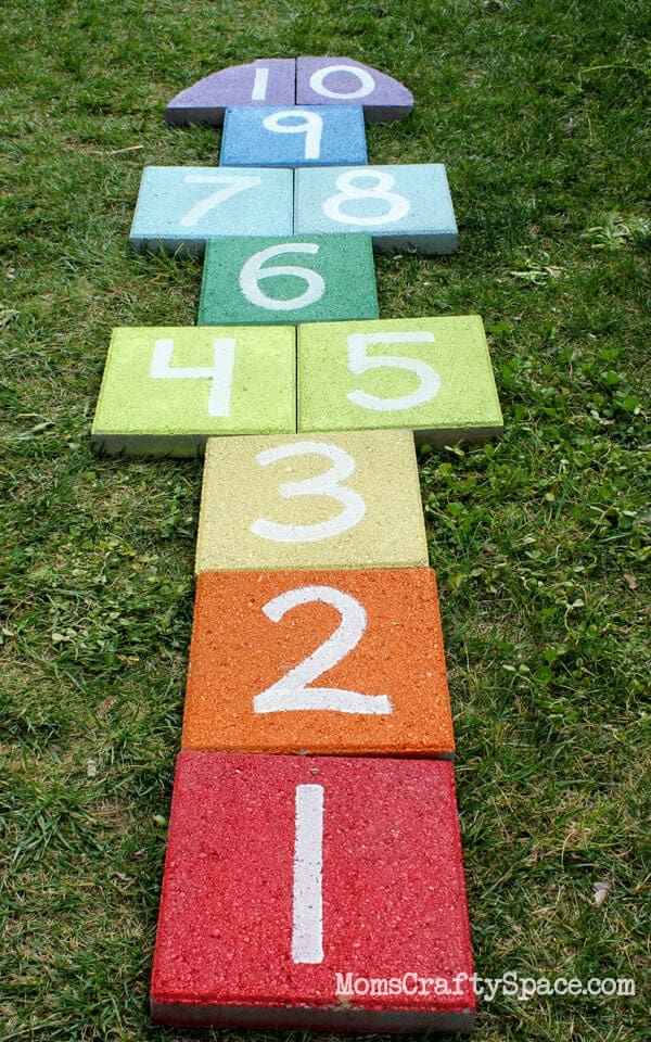 Rainbow Paver Hopscotch by Happiness is Homemade