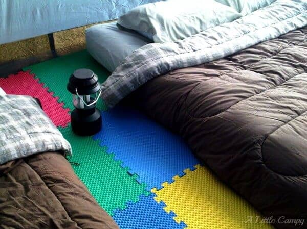 Great Camping Hacks - Use foam tiles on the ground - a great idea from A Little Campy