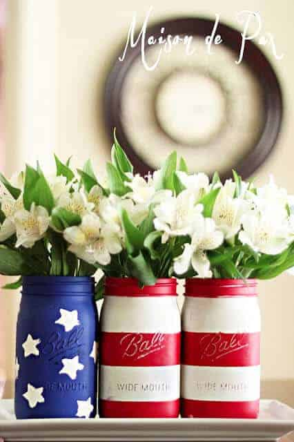 American Flag Mason Jars by Maison de Pax