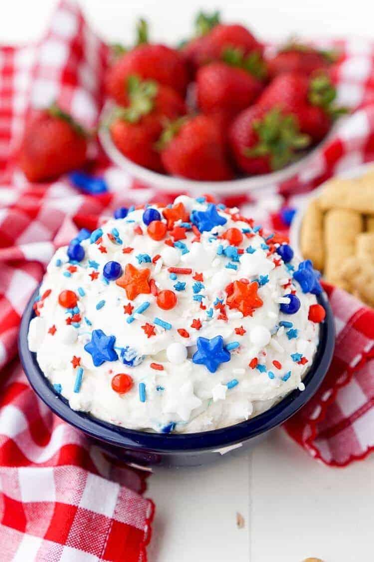 Patriotic Cake Batter Dip by Sugar and Soul