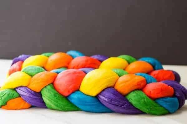 Rainbow Challah Bread by What jew Want to Eat?