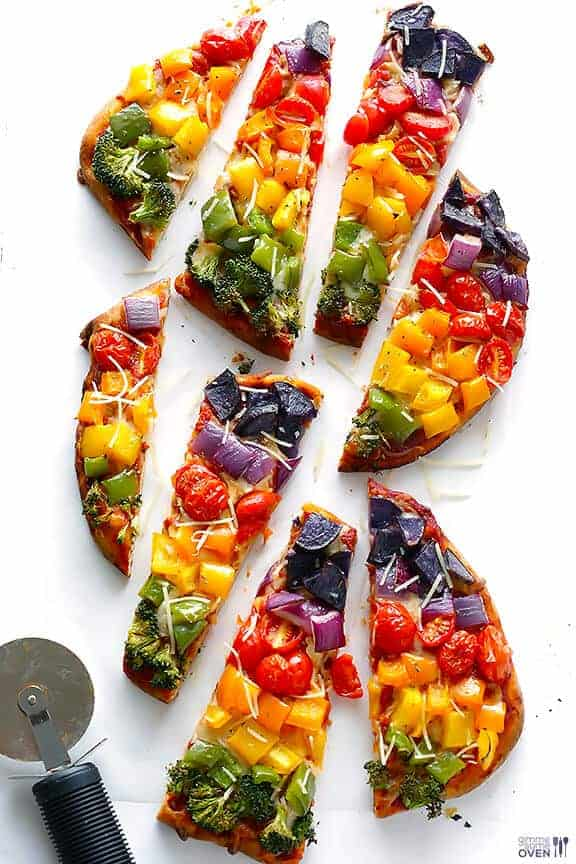 Rainbow Veggie Flatbread Pizza by Gimme Some Oven