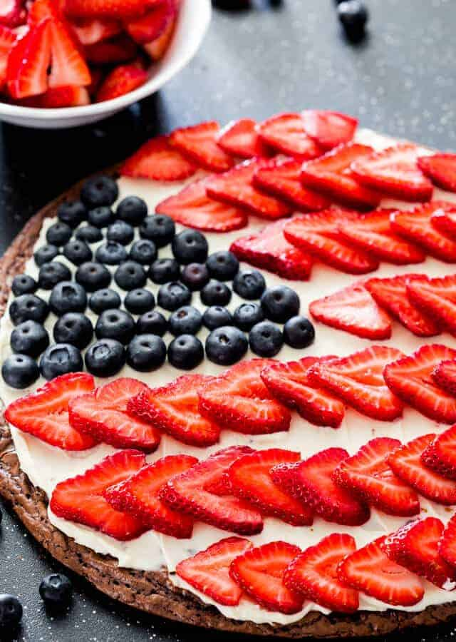 Red White and Blue Brownie Pizza by Jo Cooks