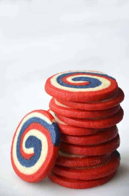 Red White and Blue Pinwheel Icebox Cookies by Just a Taste