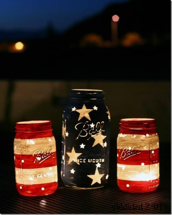 Stars and Stripes Lanterns by Mason Jar Crafts Love
