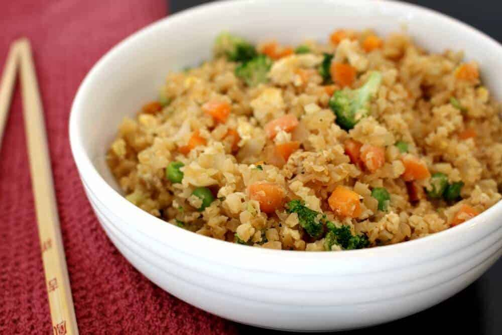 Cauliflower Fried Rice in a white bowl