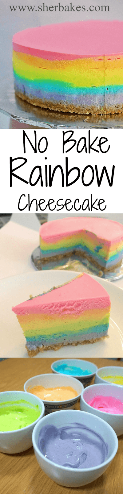 No Bake Rainbow Cheesecake by Sherbakes