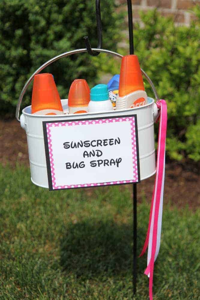 Sunscreen and Bug Spray for a party from Catch My Party and other genius party hacks and tips