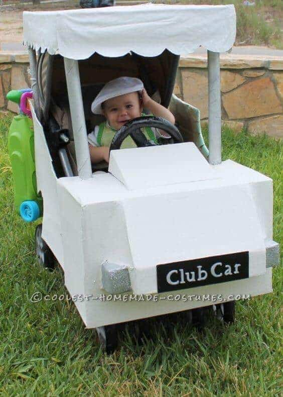 Golfer in a Golf Cart Halloween Stroller Costume | Coolest Homemade Costumes