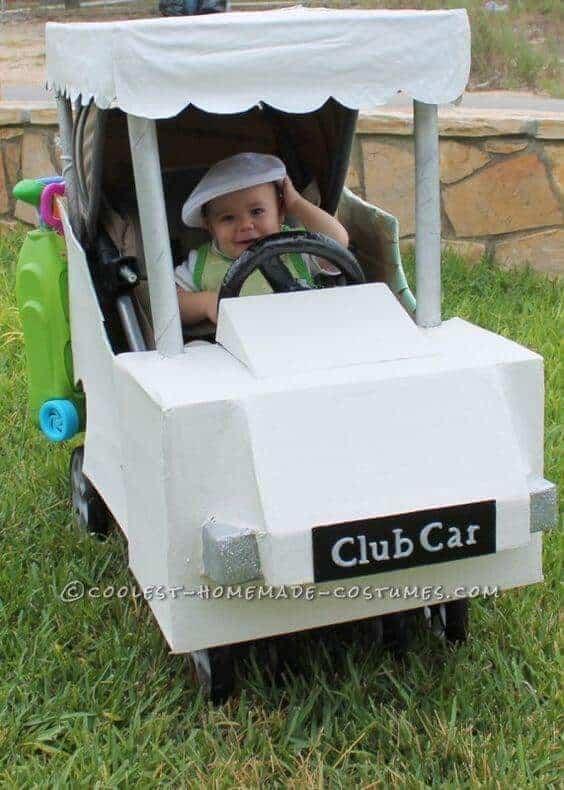 Golfer in a Golf Cart Halloween Stroller Costume | Coolest Homemade Costumes