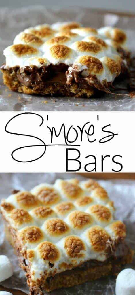 S'mores Bars are the deliciousness of a s'more but the can be enjoyed all year round. The ooey gooey chocolate on a graham cracker crust and warmtoasted marshmallow will give you a taste of your favorite summer dessert all year round!