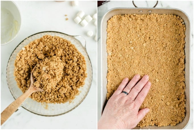 press graham cracker mixture into the baking dish