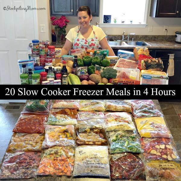 20 Slowecooker Freezer Meals in 4 Hours from Stockpiling Moms