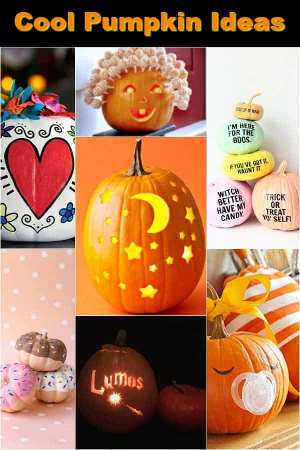Very cool pumpkin ideas - carved, no-carve, painted and just plain cute!