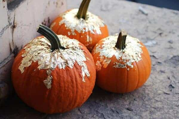 DIY Gold Leaf Pumpkins by The Stripe